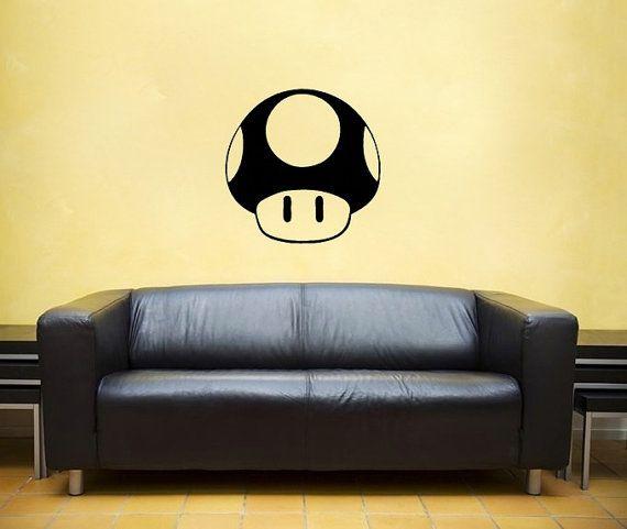 $24 Mushroom, vinyl Wall DECAL- nintendo, super mario bros. sticker ...