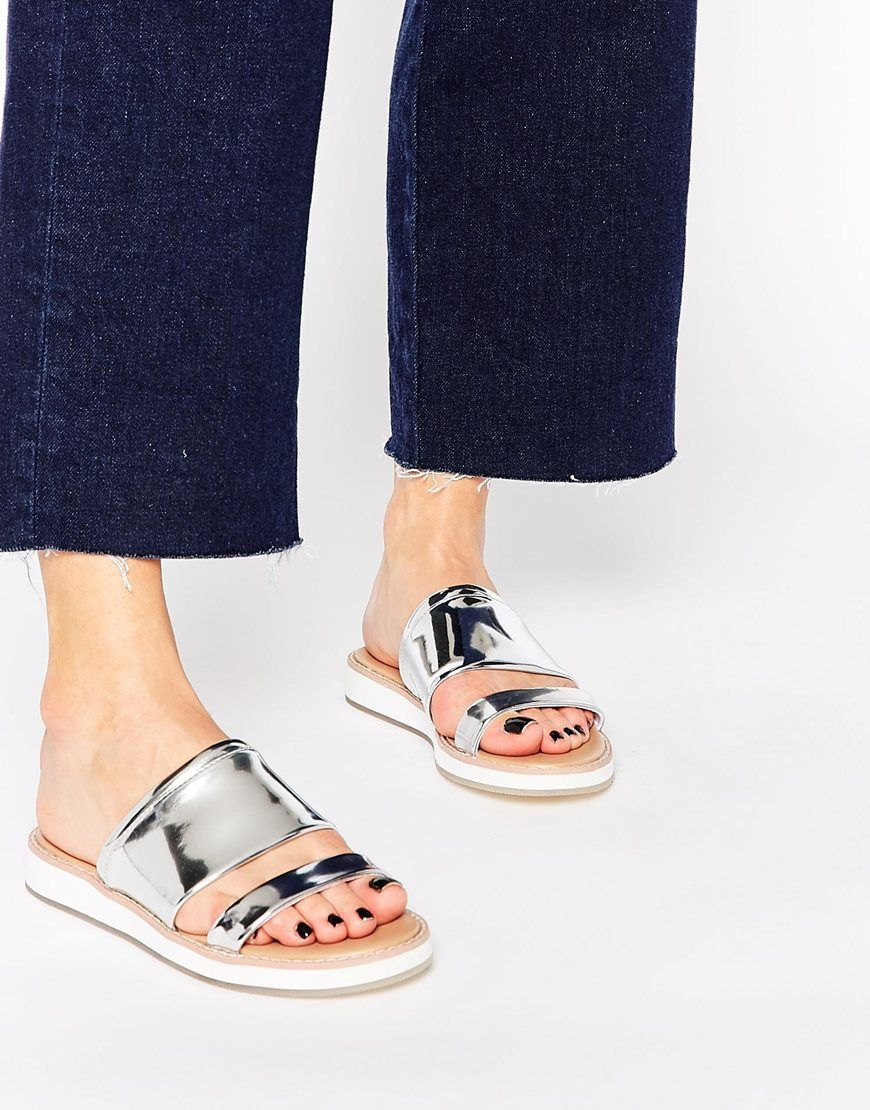 Buy Women Shoes / Aldo Rosselyn Silver Double Strap Slider Sandals