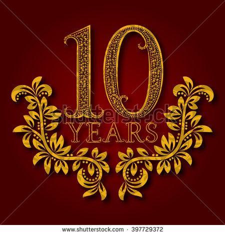 Ten Years Anniversary Celebration Patterned Logotype 10th