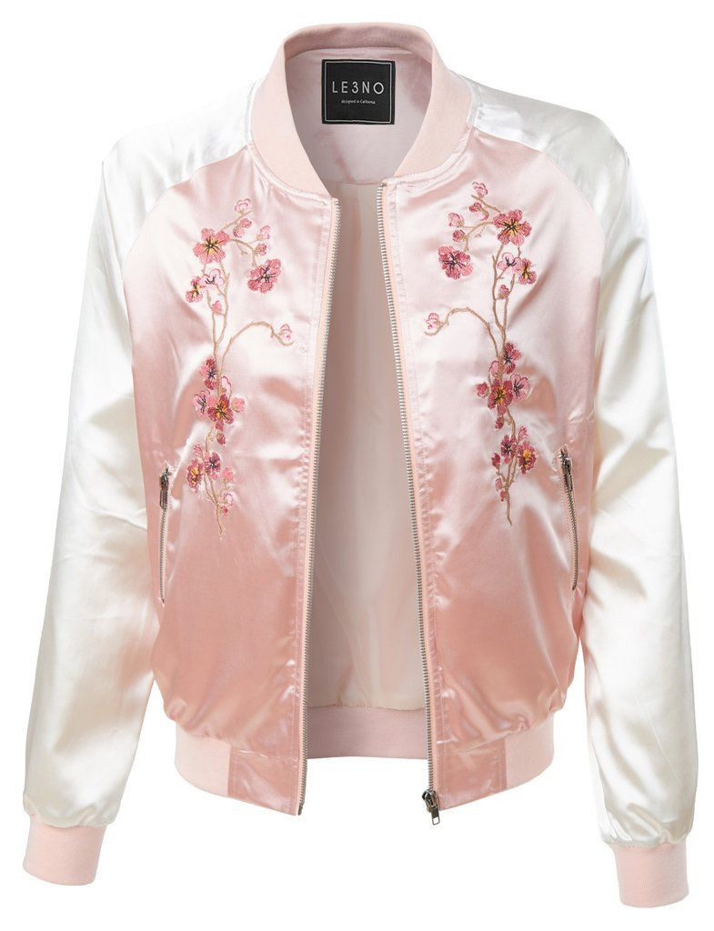 1552e435a98d LE3NO Womens Lightweight Satin Floral Embroidery Zip Up Bomber Jacket