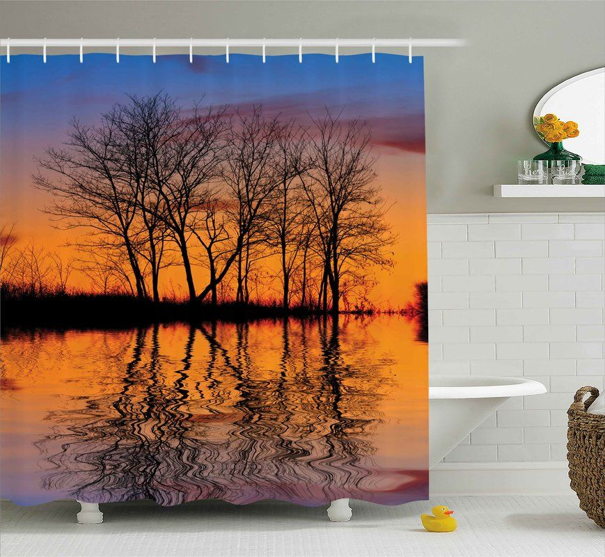 Nature Sunset By Lake View Shower Curtain Hooks With Images Shower Curtain Hooks Lake View Curtains