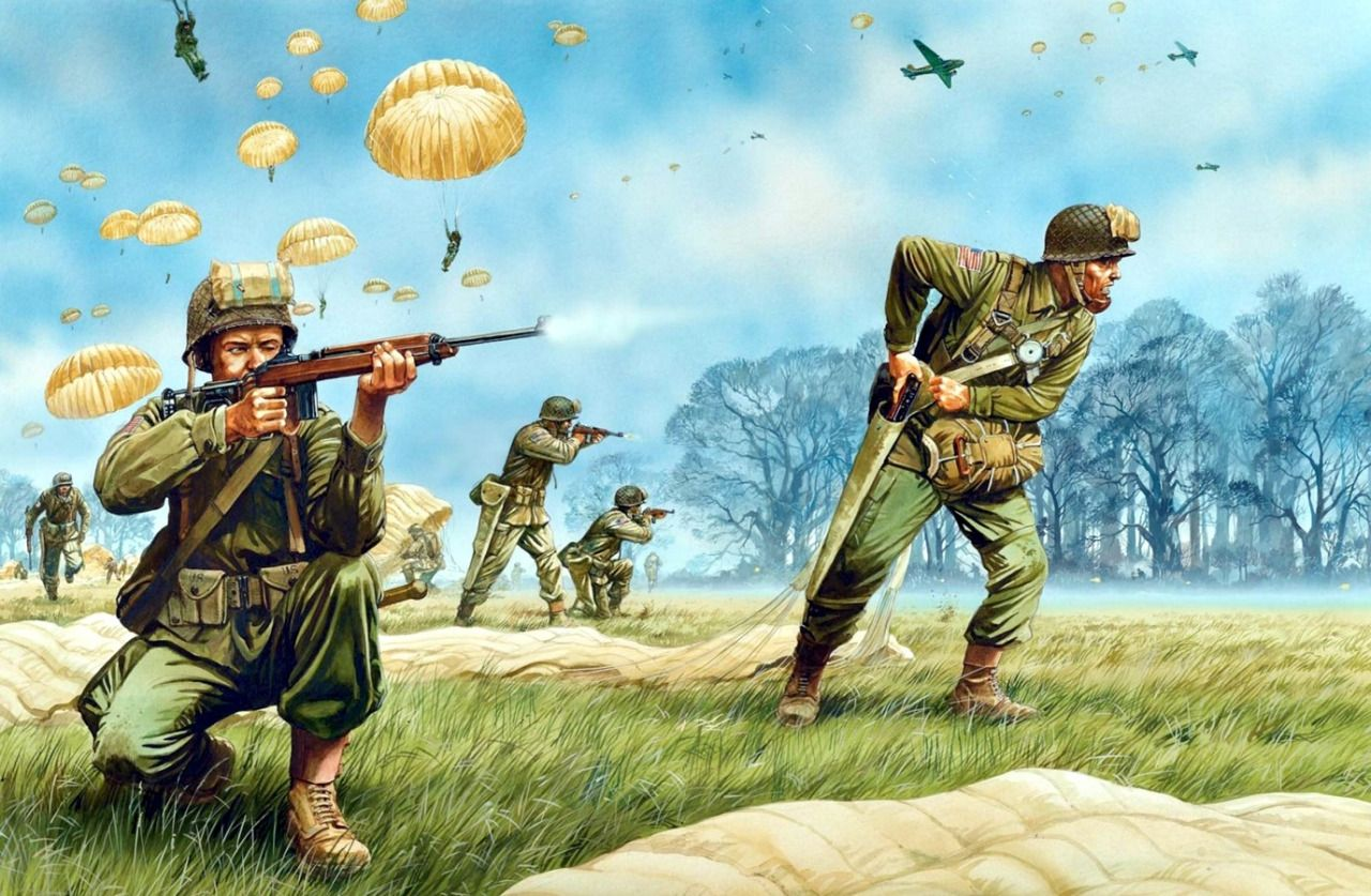 American Airborne, Operation Varsity, 1945.  Double click on image to ENLARGE.