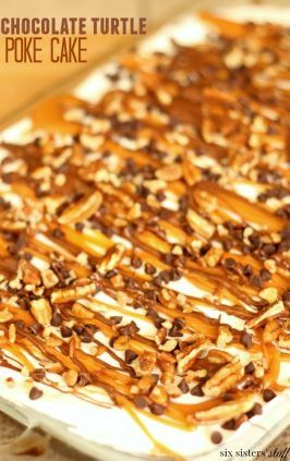 Chocolate Turtle Poke Cake #chocolatepeanutbutterpokecake