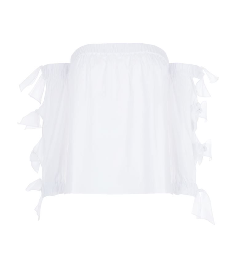 MILLY Blythe Off-The-Shoulder Shirt. #milly #cloth #