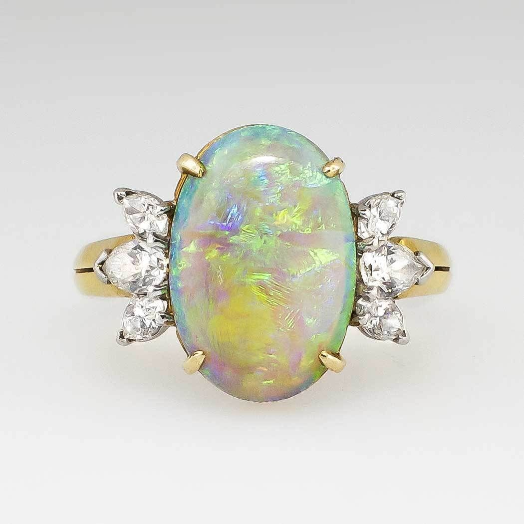 Phenomenal 4.48ct t.w. Estate Mystical Timeless Opal Diamond Ring