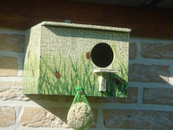 Vogelhuisje Serviette-Craquelétechniek