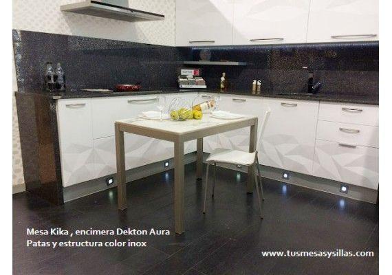 Mesa de cocina o comedor extensible kika de vimens con - Ver mesas de cocina ...