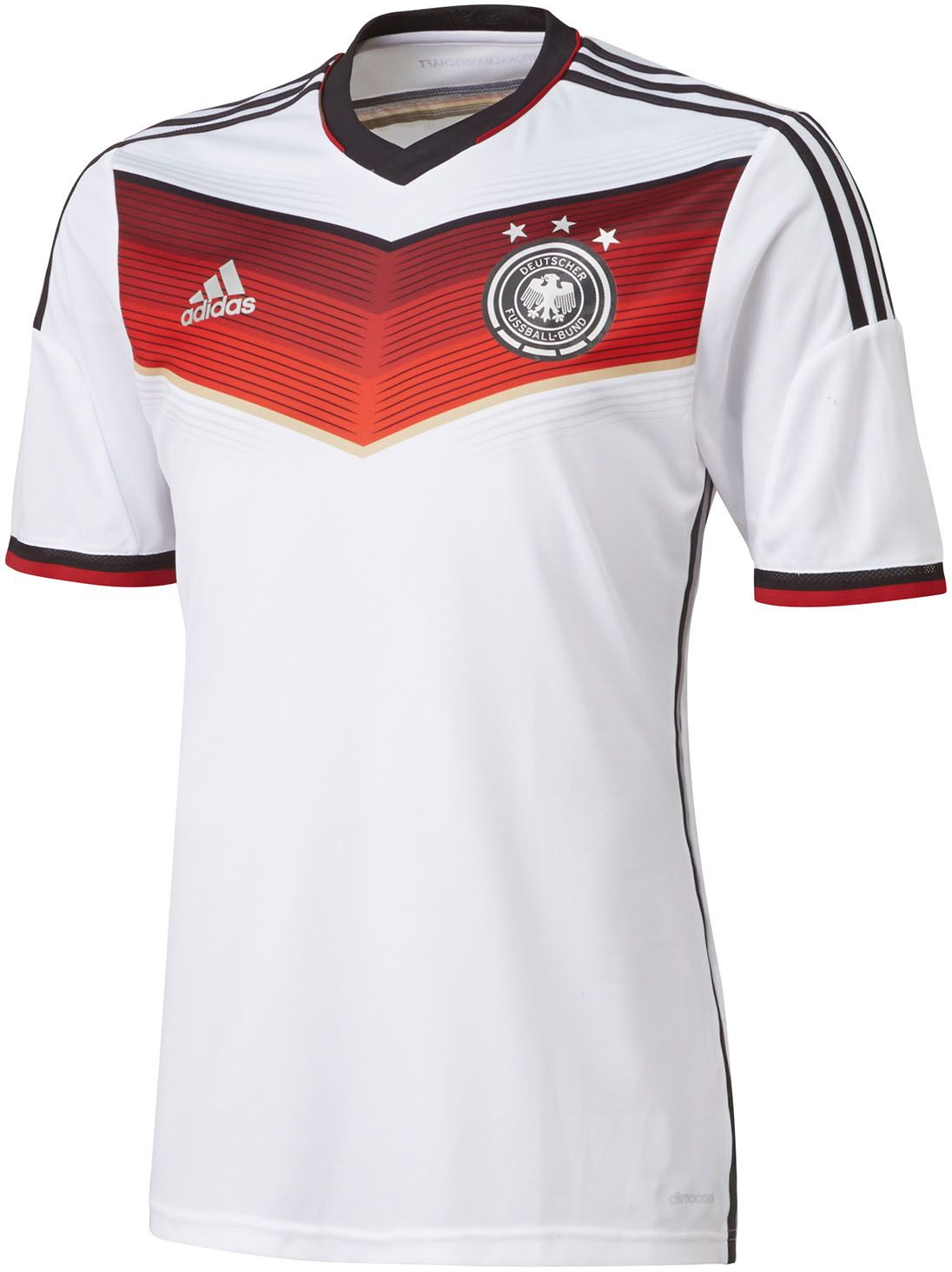 dbdeca228 The new Germany 2014 World Cup Home Jersey is mainly white with red and  black applications. On the front of the Germany 2014 World Cup Kit features  a ...