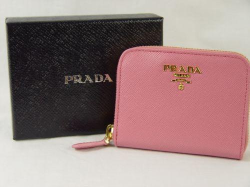 620412e64077 PRADA NWT Saffiano Leather Credit Card Holder Zip Around Wallet Geranio Pink !!