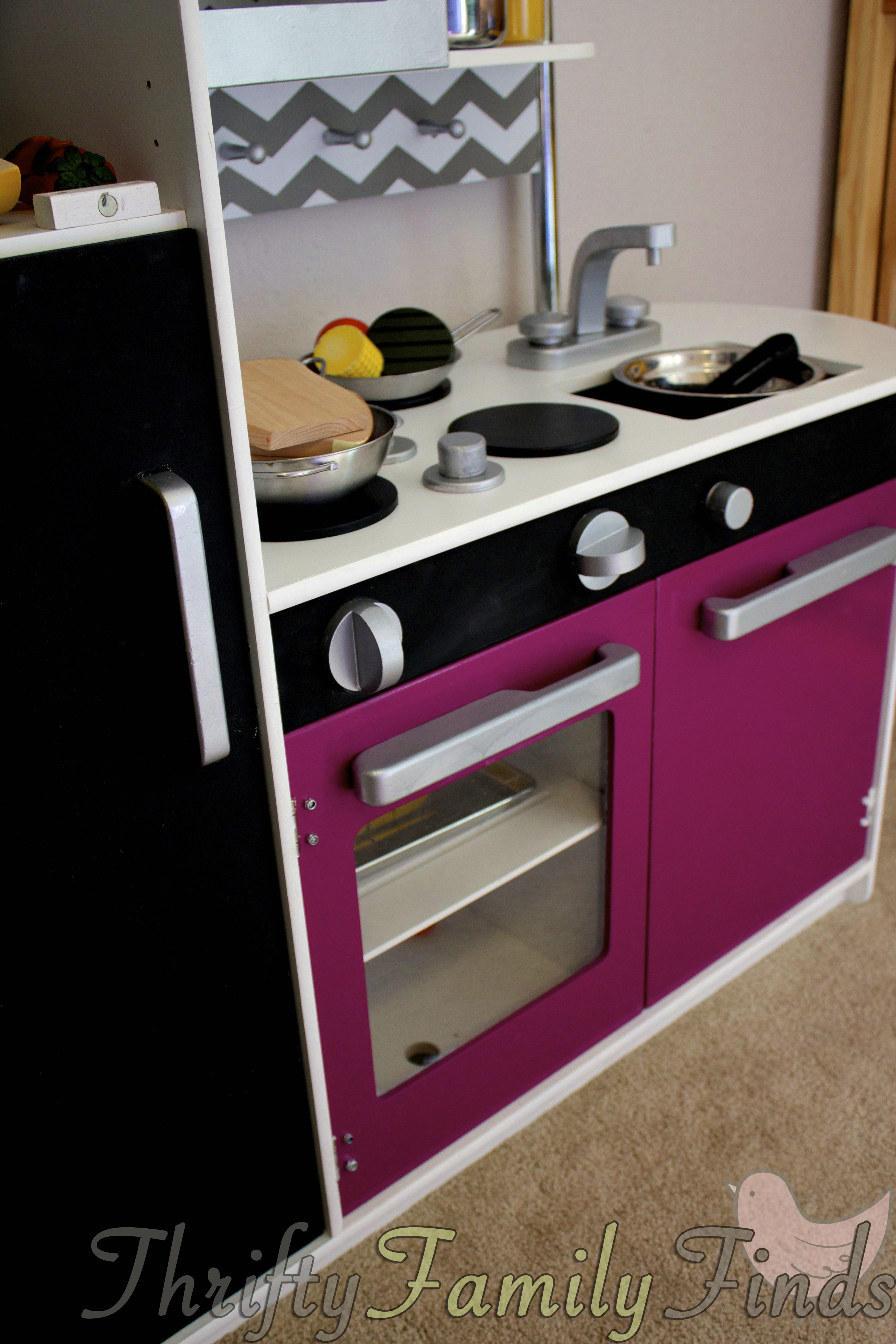 Kitchen make overs  DIY Modern Play Kitchen Makeover For Less Than   crafts