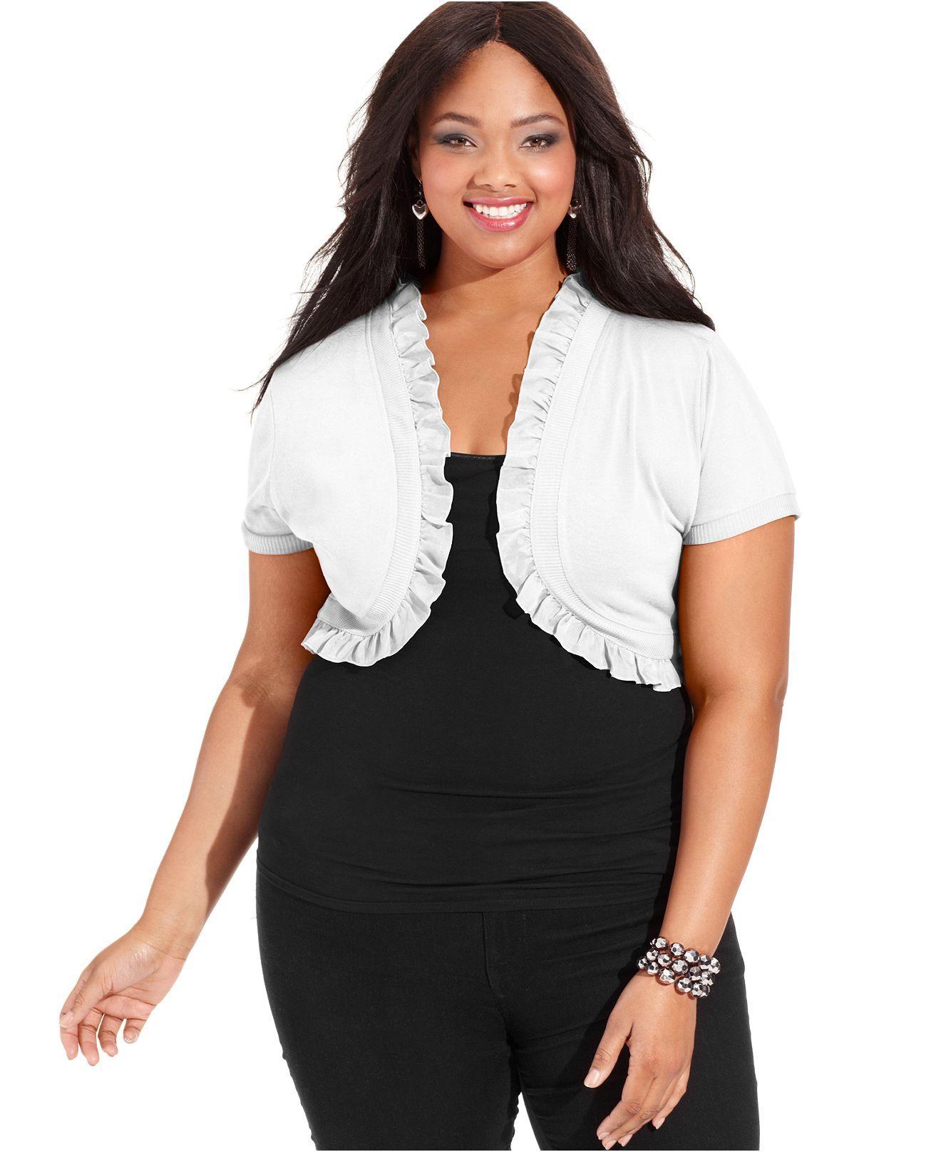 Extra Touch Plus Size Cardigan, Short-Sleeve Ruffle Shrug - Junior ...