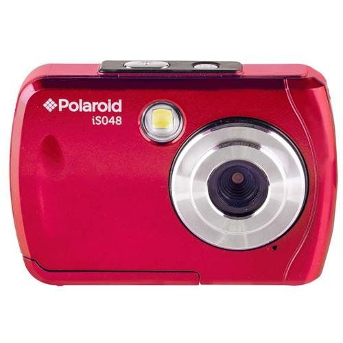 "Polaroid iS048 Waterproof Digital Camera (Red). Polaroid iS 048 16MP Waterproof Camera. 2.4"" LCD screen. Waterproof down to 10 ft. (3m). microSD card. 720p HD video."