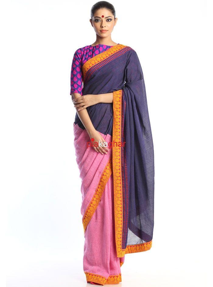 Pink/Blue Handloom Saree