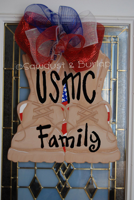 USMC Military Boot Door Hanger, United States Army, Air Force, Navy Inspired Door Hanger, Military Boot Door Decor, Door Wreath by SawdustandBurlap on Etsy https://www.etsy.com/listing/220636703/usmc-military-boot-door-hanger-united