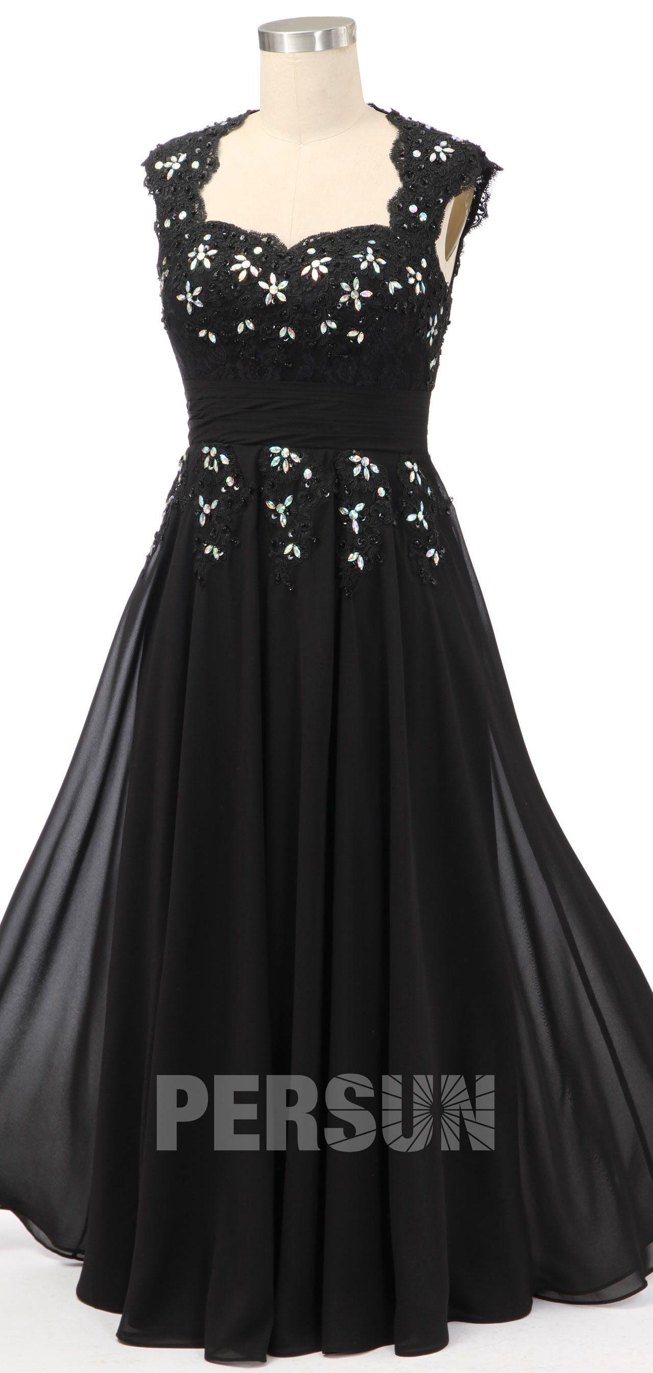 0c60b357ec8 robe de soirée longue noire orné de strass à mancheron