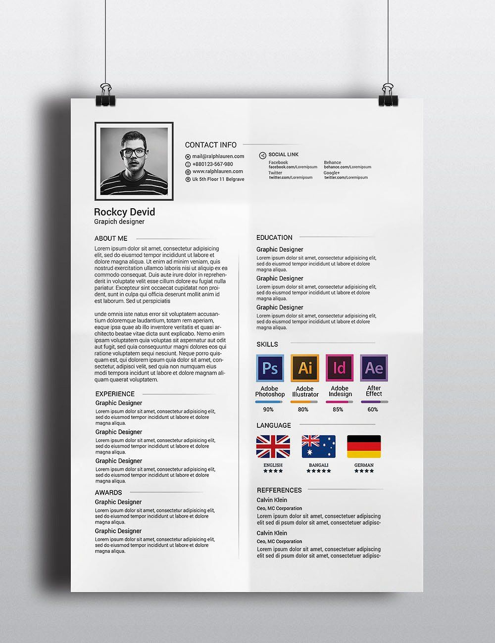 The Resume by Graphicalark on creativemarket Resume
