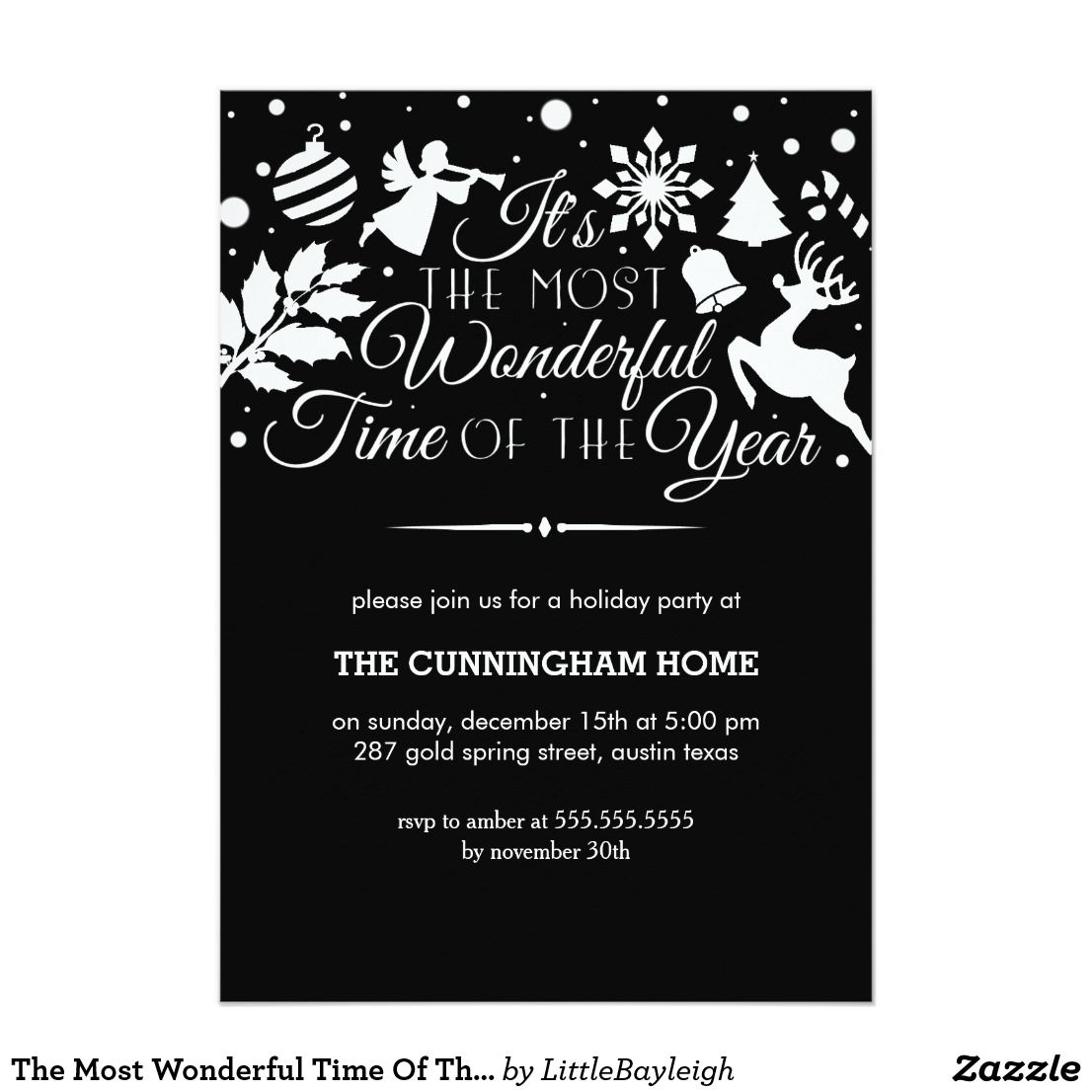 The Most Wonderful Time Of The Year Holiday Invite Zazzle Com Holiday Invitations Christmas Party Invitations Invitations