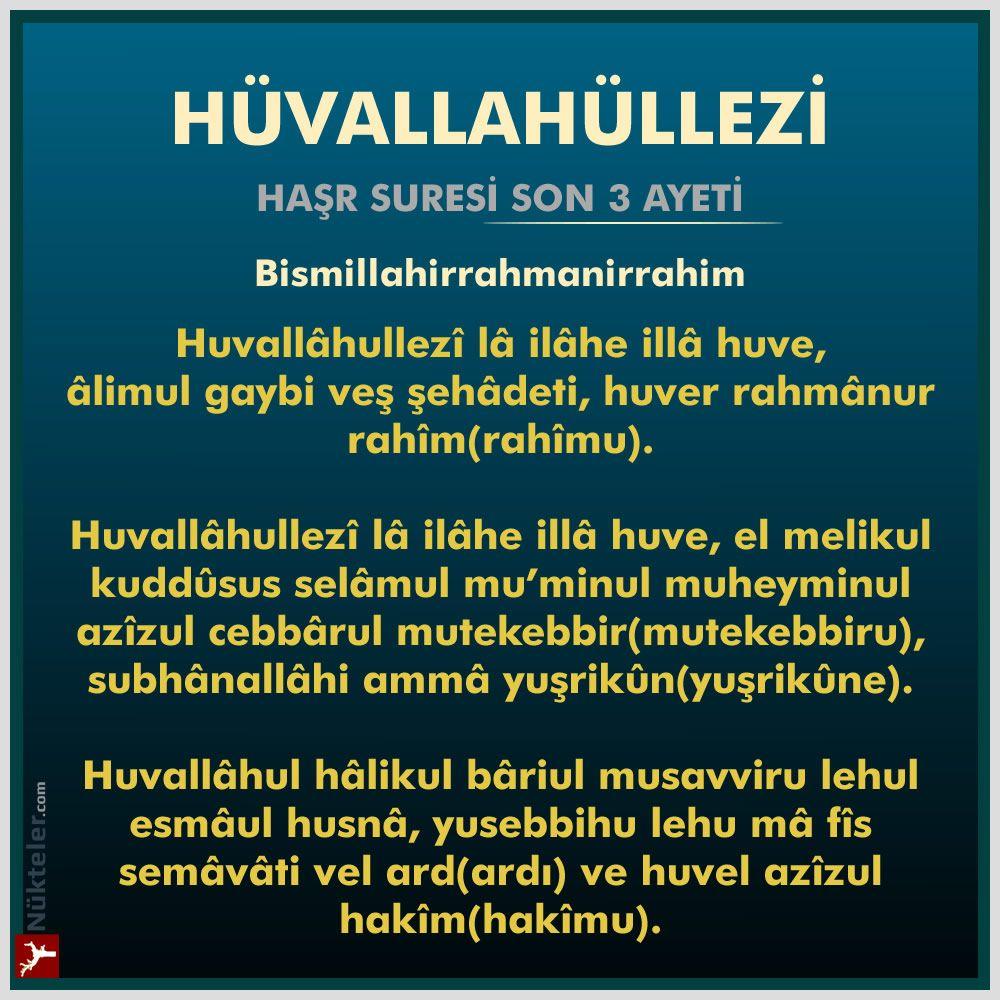 Hasr Suresi Son 3 Ayeti Huvallahullezi Anlami Fazileti Ilham