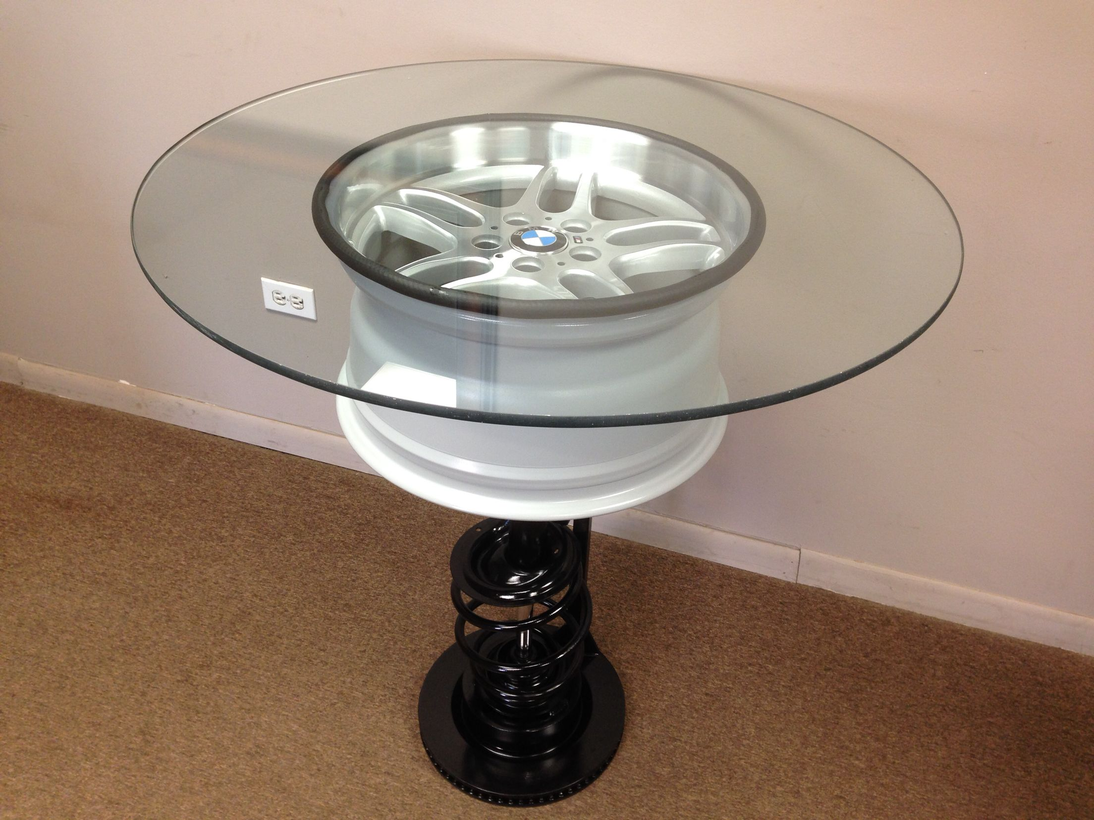 Pub Table Made From BMW M Parallel Wheel Strut Tower and Brake