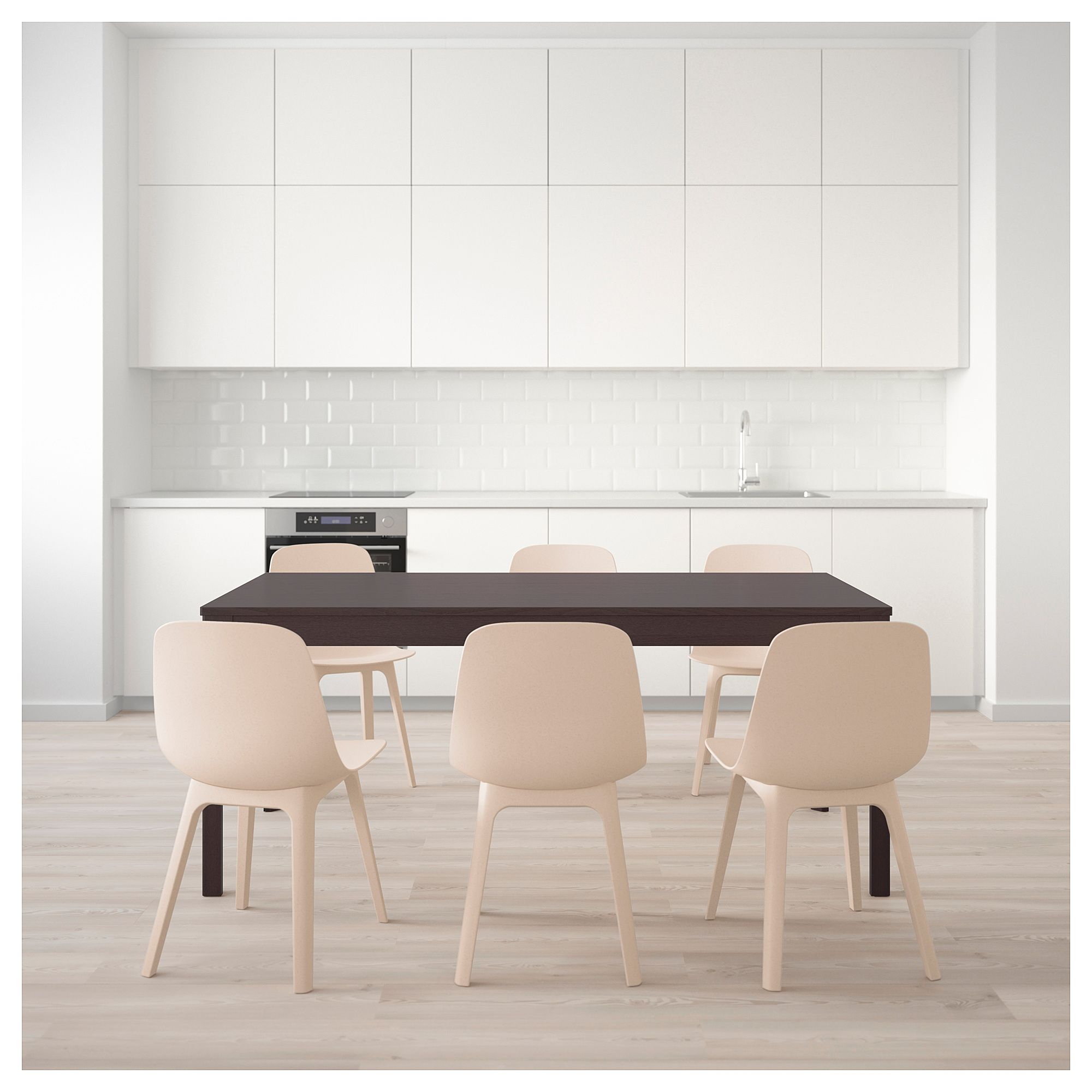 Ikea Ekedalen Odger Table And 6 Chairs Dark Brown White