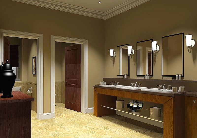 Bathroom design 12 popular commercial bathroom designs for Office bathroom ideas