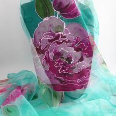 952714527c56 Etole écharpe foulard en mousseline de soie peint main fleuri