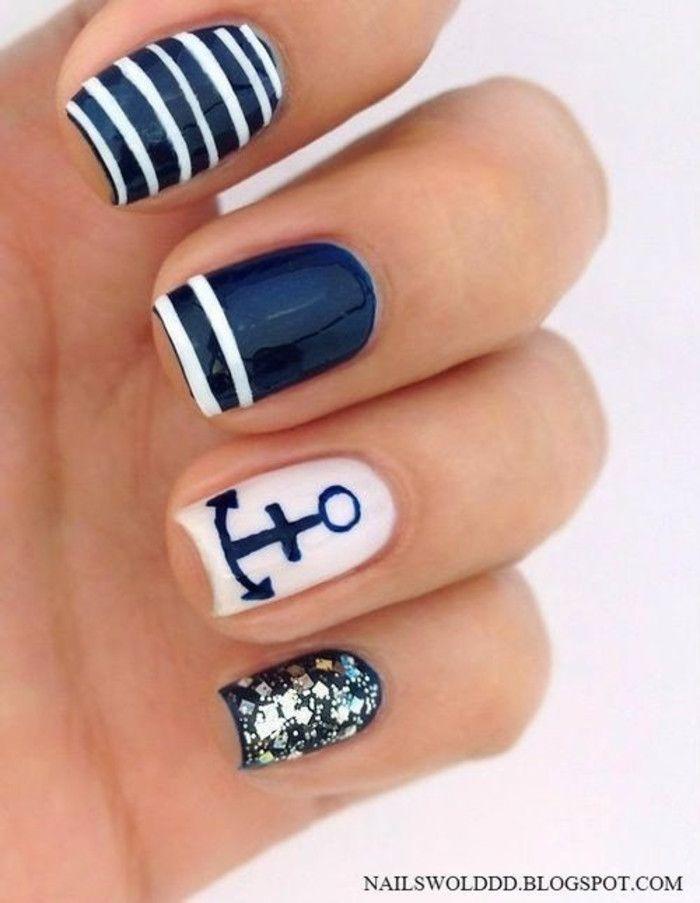 Arte ancla de uñas. Stripes, uñas purpurina. Nail diseño. Polaca ...