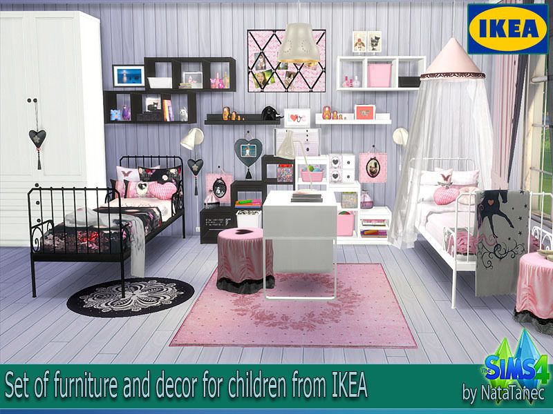 Lana Cc Finds Children S Pink Boom Ikea By Natatanec Sims 4 Bedroom Sims Sims 4 Beds