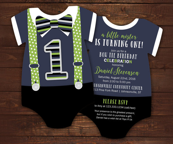 Bow tie first birthday invitations navy and green suspenders 10 bow tie first birthday invitations navy by littlebeesgraphics filmwisefo