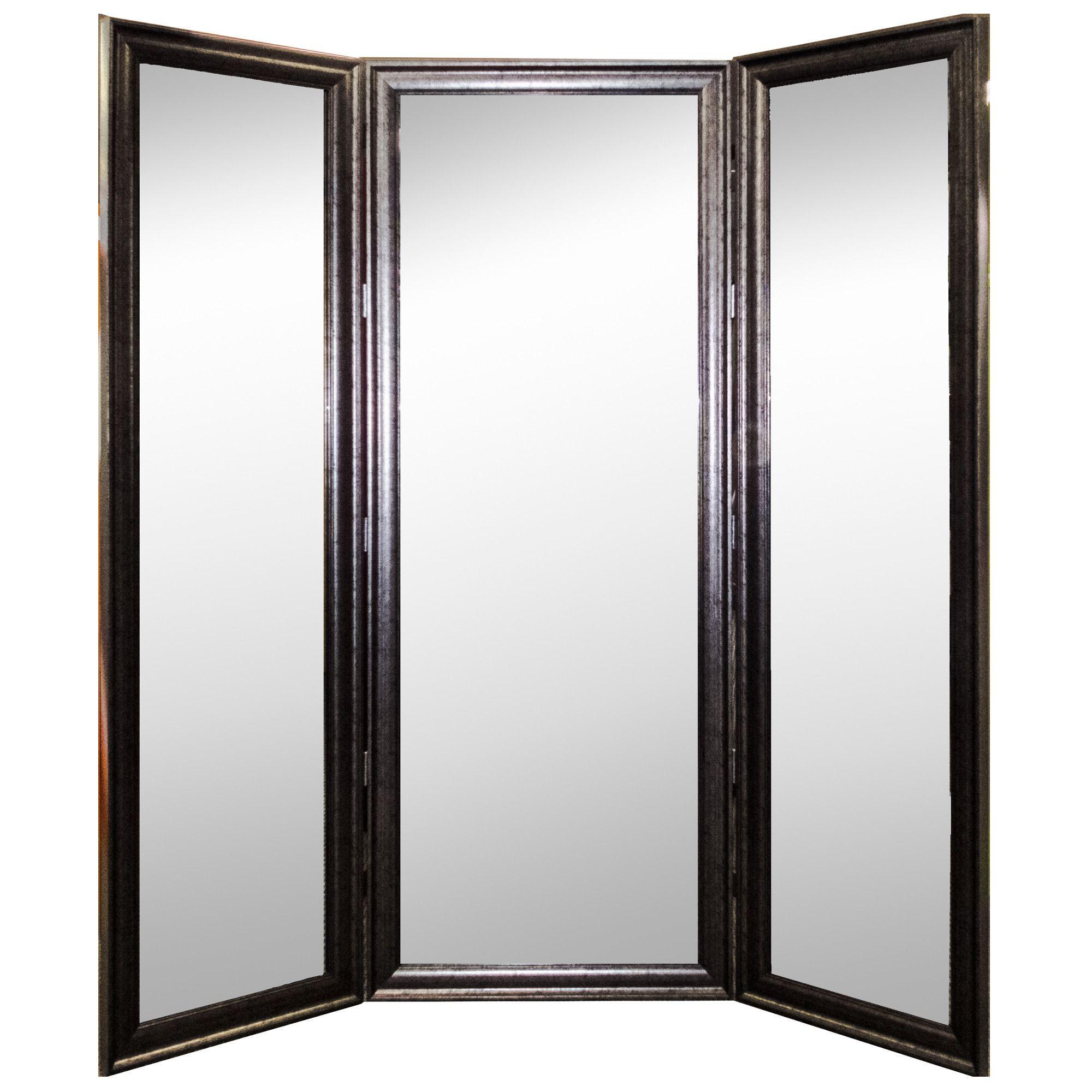 Vintage silver three panel mirror room divider mirror room