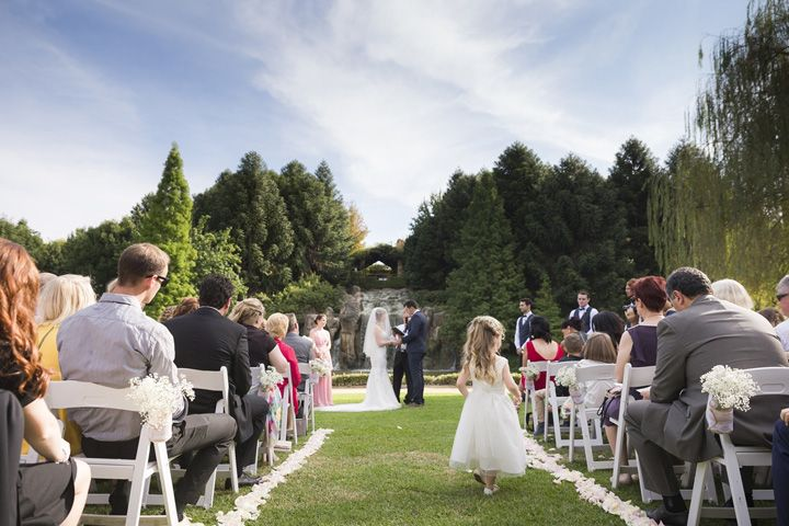 Garden wedding ceremony | itakeyou.co.uk #wedding #classicwedding #pinkwedding #weddingreception #huntervalleywedding #australiawedding #destinationwedding