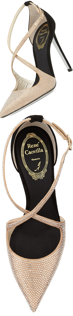 Rene Caovilla Crystal Cross Strap D'Orsay pump   LOLO