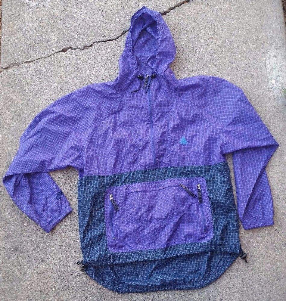 1a8c2b835183 Vtg 80s ACG by Nike Purple Micro Checks 1 2 Zip Pullover Windbreaker Mesh  Pulls