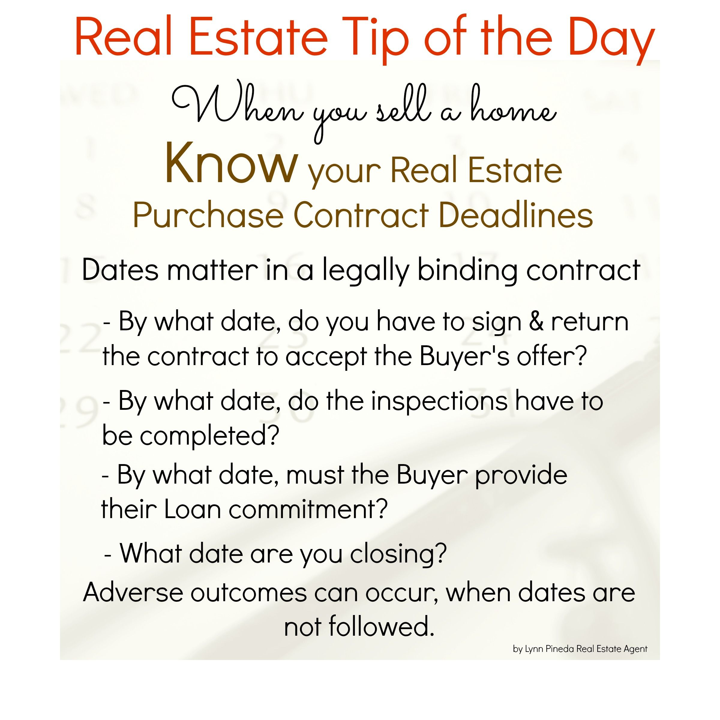 Know Your Real Estate Purchase Contract Deadlines When You Sell A
