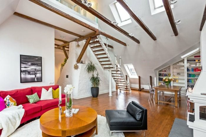 Wohnzimmer Wandgestaltung Ideen Dachgeschoss Dachschräge Pinterest