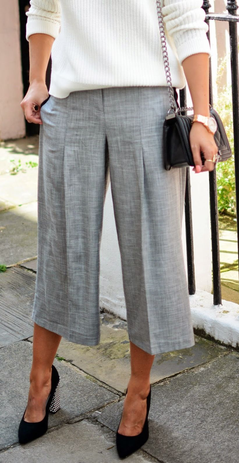 Topshop Grey Taylor Wide Leg Capri Trousers