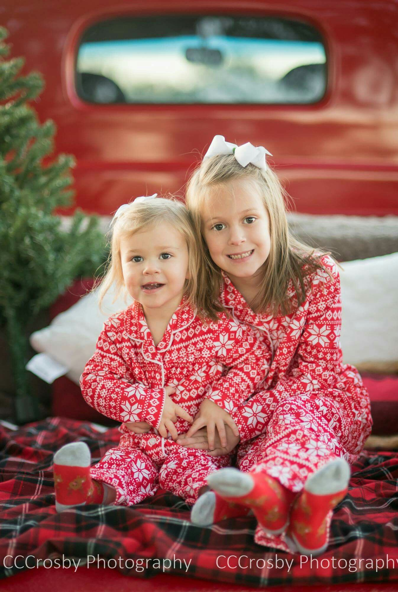 Christmas pajama pictures with old red truck.  bd708097d