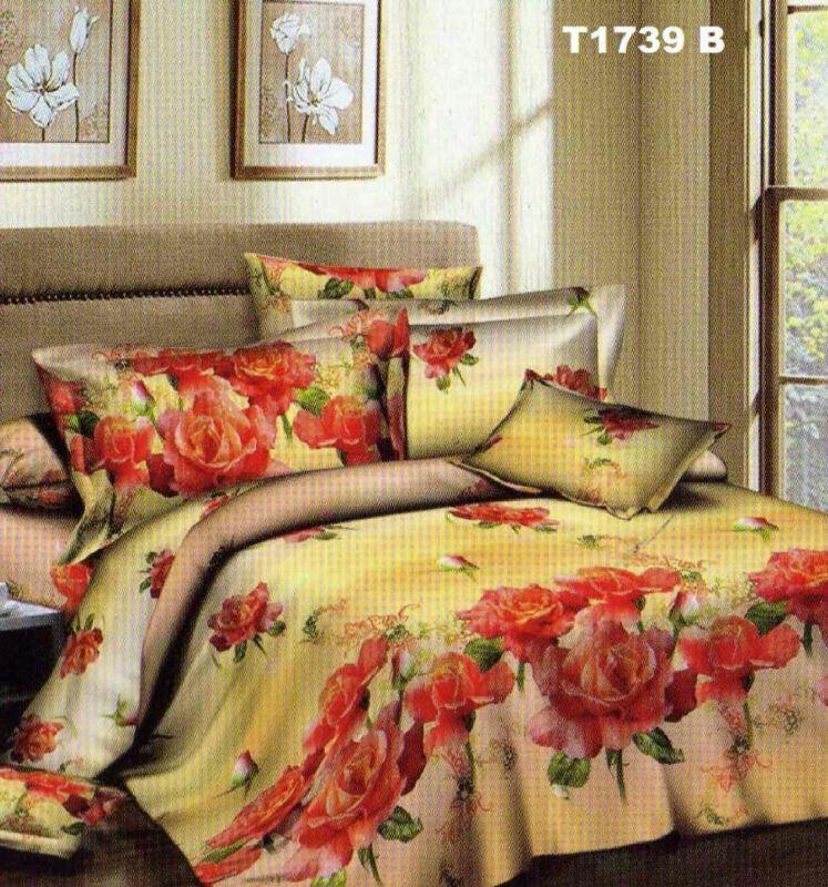 Motif mawar orange, sprei & bedcover bahan katun jepang