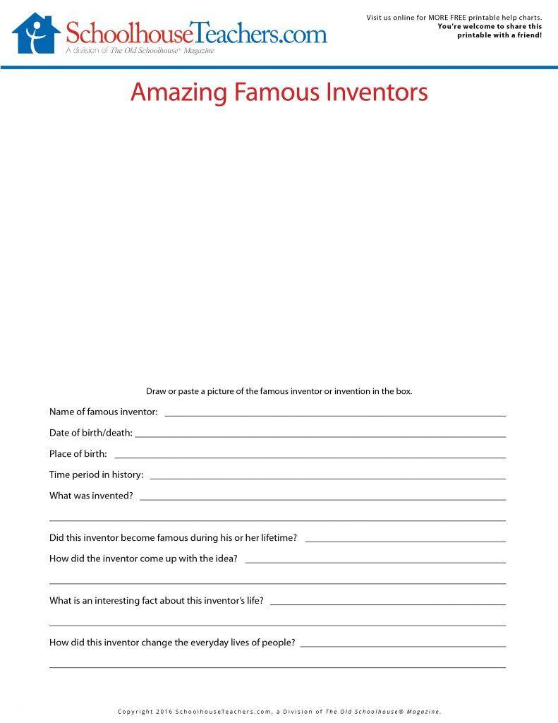 Homeschool Journal Worksheets - Historical / Famous People | FREE ...