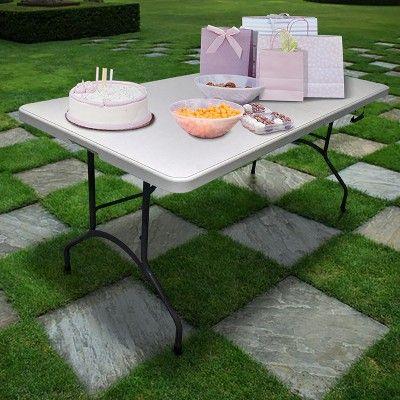 Amazing 8 Folding Table Gray Plastic Dev Group Off White Ncnpc Chair Design For Home Ncnpcorg