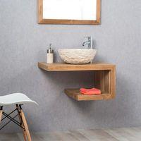 Meuble De Salle De Bain En Teck Pure Droit 70cm Bathrooms And Wash Basins In 2019 Small Toilet Room Bathroom Sink Bowls Bathroom