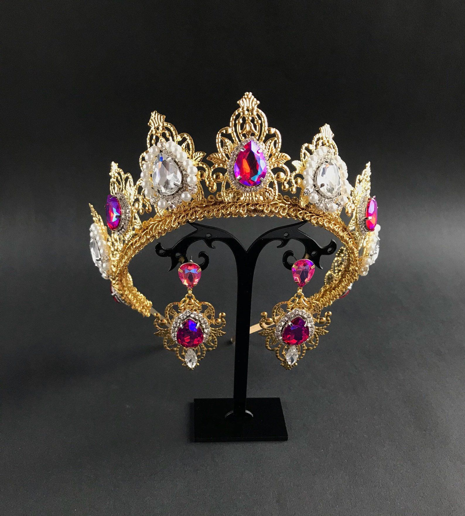 Queen Crown Tiara Gold Pink Jewelry Set Crystal Pearls