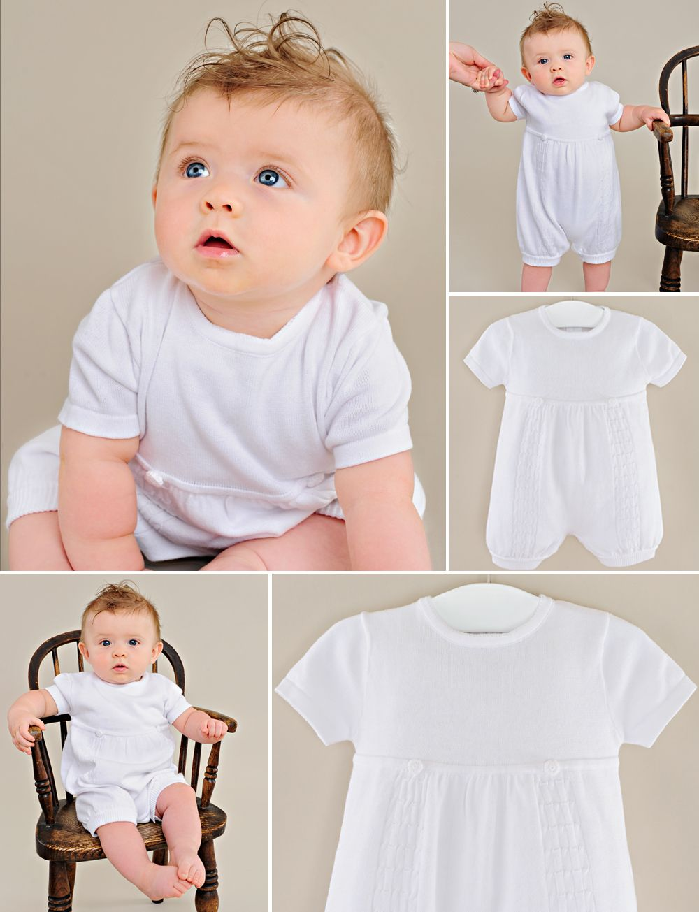 One Small Child Braeden Boys White Knit Short Sleeve Christening Baptism Blessing Outfit