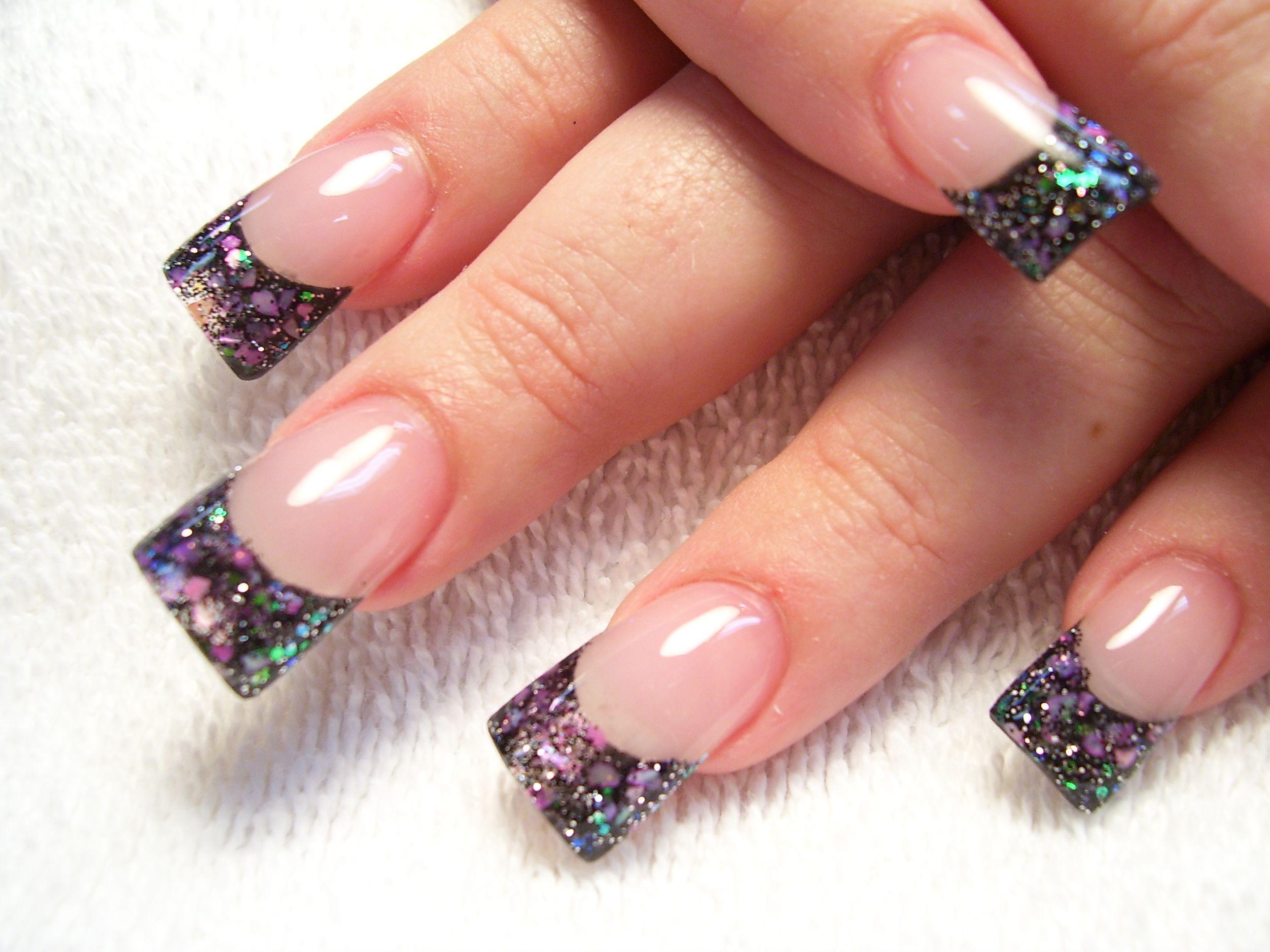 Strange french nails with glitter   Nails   Pinterest