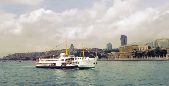 Stock Footage - Istanbul Ferry and Topkap Palace | VideoHive