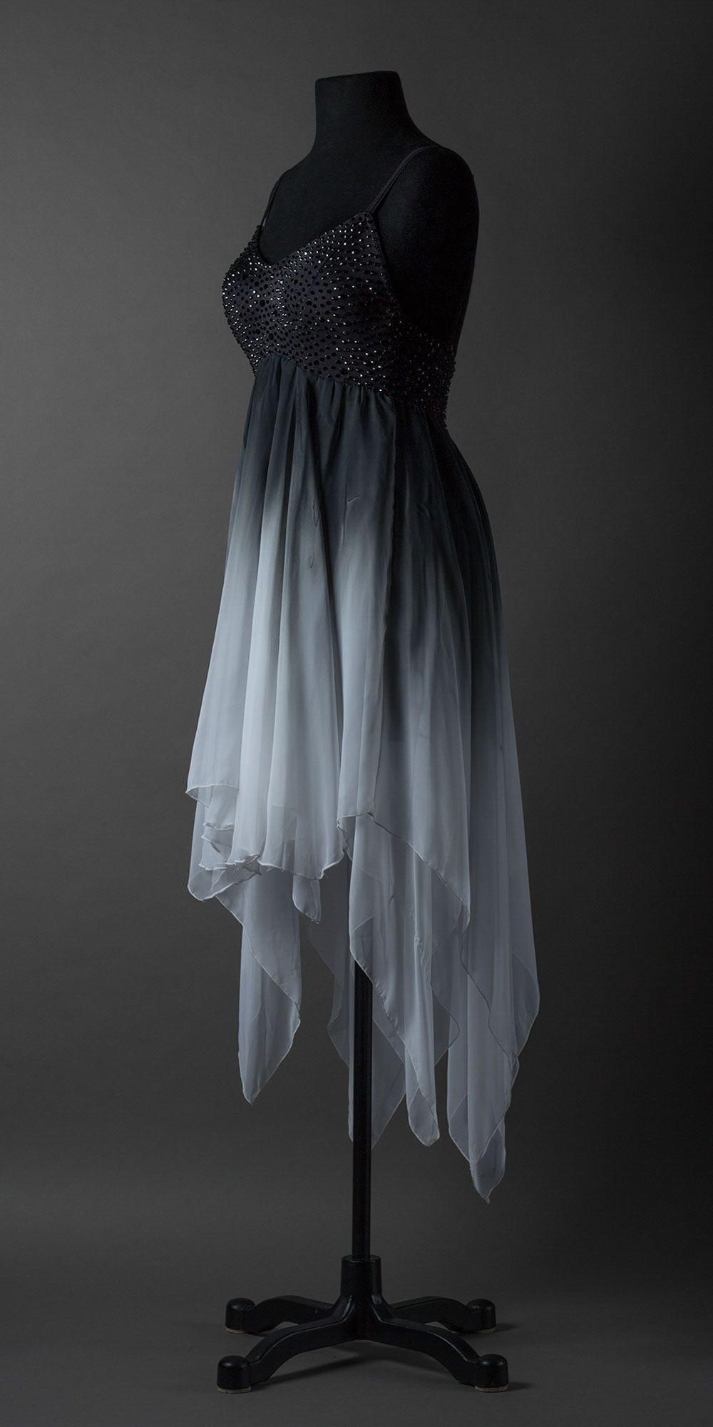 Black To White Ombre Showdance Latin Black Dance Dresses Lyrical Dresses Dance Dresses