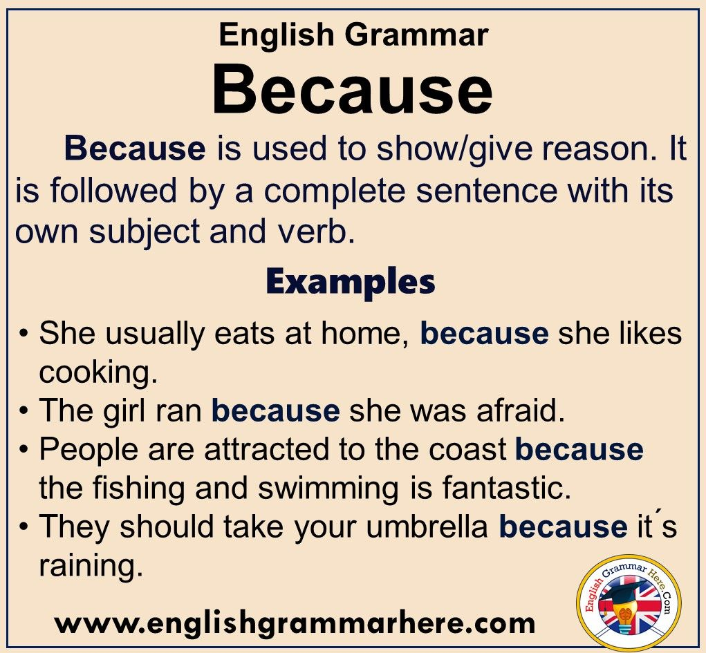 English Grammar Using Because, Definiton and Example