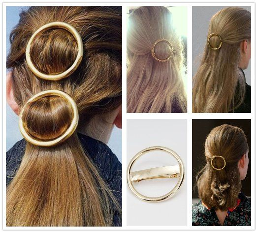 Heavy Metal Gold Silver Hollow Hoop Round Circle Geometric Metallic Hairpin  Hair Clip Clamp Accessories French Barrette Bobby Pin Ponytail Holder  Statement ... d946421461