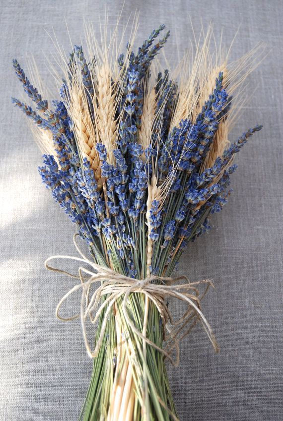 Brides Bouquet of Lavender and Wheat Custom Made Handtied Wedding Dried Flower Bouquet #flowerbouquetwedding