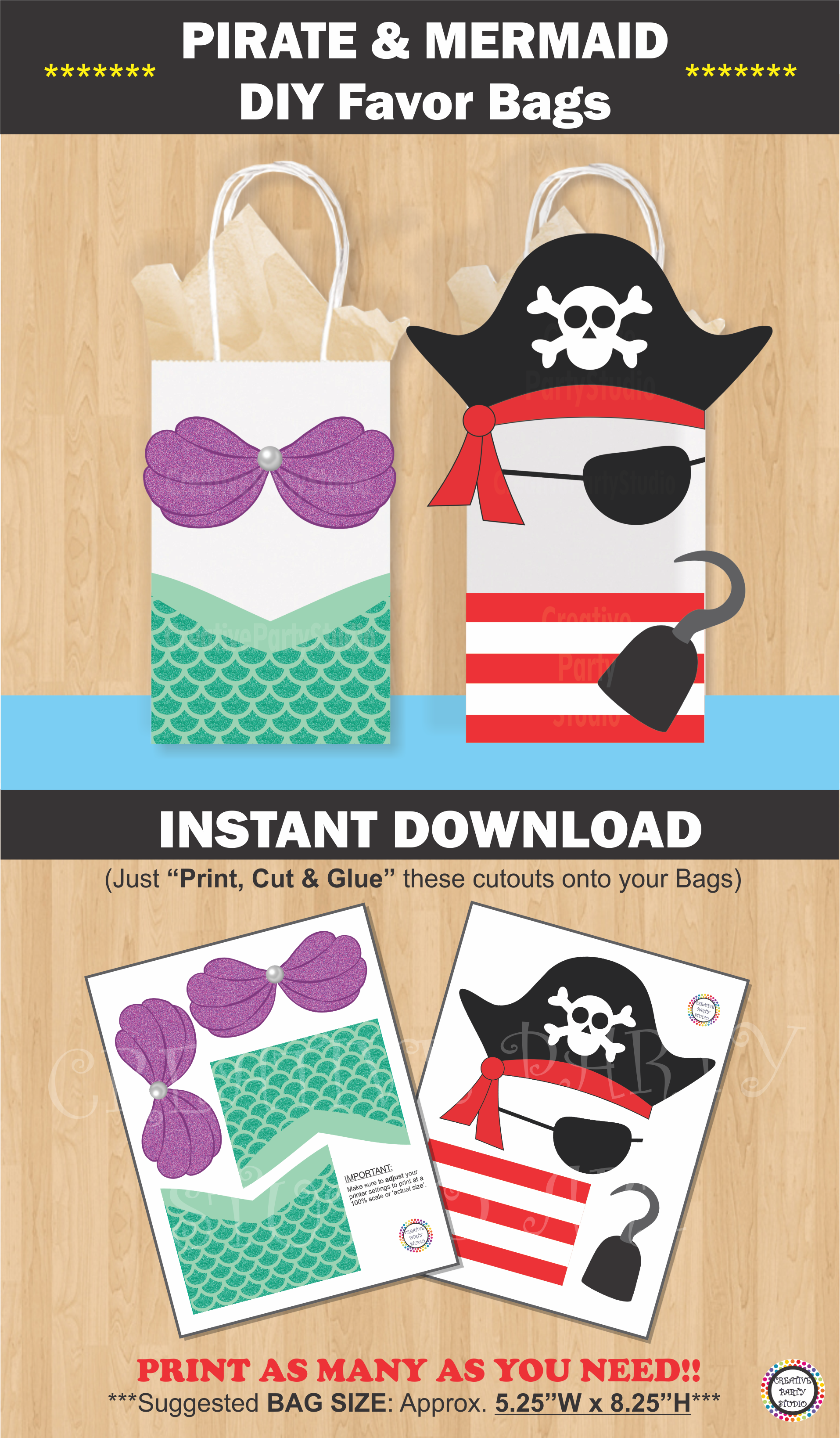Mermaid Gift Ideas Mermaid Favor Bags Pirate Favor Bags Mermaid And Pirate